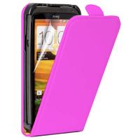 HTC One SV/ T528T CDMA: Accessoire Housse Coque Pochette Etui protection vrai cuir à rabat vertical - ROSE