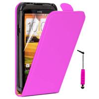 HTC One SV/ T528T CDMA: Accessoire Housse Coque Pochette Etui protection vrai cuir à rabat vertical + mini Stylet - ROSE