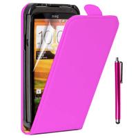 HTC One SV/ T528T CDMA: Accessoire Housse Coque Pochette Etui protection vrai cuir à rabat vertical + Stylet - ROSE