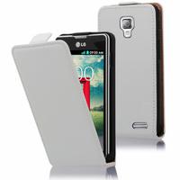 LG F70 D315/ LTE: Accessoire Housse Coque Pochette Etui protection vrai cuir à rabat vertical - BLANC