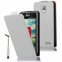 LG F70 D315/ LTE: Accessoire Housse Coque Pochette Etui protection vrai cuir à rabat vertical + mini Stylet - BLANC
