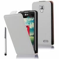 LG F70 D315/ LTE: Accessoire Housse Coque Pochette Etui protection vrai cuir à rabat vertical + Stylet - BLANC