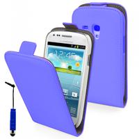 Samsung Galaxy Trend S7560/ Galaxy S Duos S7562/ Ace II X S7560M: Accessoire Housse Coque Pochette Etui protection vrai cuir à rabat vertical + mini Stylet - BLEU
