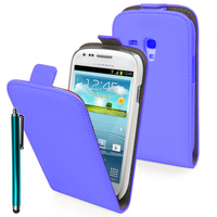 Samsung Galaxy Trend S7560/ Galaxy S Duos S7562/ Ace II X S7560M: Accessoire Housse Coque Pochette Etui protection vrai cuir à rabat vertical + Stylet - BLEU