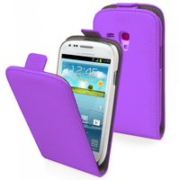 Samsung Galaxy Trend S7560/ Galaxy S Duos S7562/ Ace II X S7560M: Accessoire Housse Coque Pochette Etui protection vrai cuir à rabat vertical - VIOLET