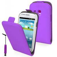 Samsung Galaxy Trend S7560/ Galaxy S Duos S7562/ Ace II X S7560M: Accessoire Housse Coque Pochette Etui protection vrai cuir à rabat vertical + mini Stylet - VIOLET