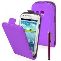 Samsung Galaxy Trend S7560/ Galaxy S Duos S7562/ Ace II X S7560M: Accessoire Housse Coque Pochette Etui protection vrai cuir à rabat vertical + Stylet - VIOLET