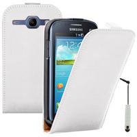 Samsung Galaxy Ace 3 S7270 S7272 S7275 LTE: Accessoire Housse Coque Pochette Etui protection vrai cuir à rabat vertical + mini Stylet - BLANC