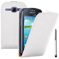 Samsung Galaxy Ace 3 S7270 S7272 S7275 LTE: Accessoire Housse Coque Pochette Etui protection vrai cuir à rabat vertical + Stylet - BLANC