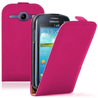 Samsung Galaxy Core I8260/ I8262 Dual Sim: Accessoire Housse Coque Pochette Etui protection vrai cuir à rabat vertical - ROSE