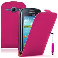 Samsung Galaxy Core I8260/ I8262 Dual Sim: Accessoire Housse Coque Pochette Etui protection vrai cuir à rabat vertical + mini Stylet - ROSE