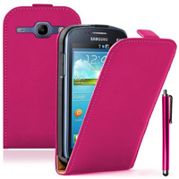 Samsung Galaxy Core I8260/ I8262 Dual Sim: Accessoire Housse Coque Pochette Etui protection vrai cuir à rabat vertical + Stylet - ROSE