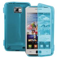 Samsung Galaxy S2 i9100/ i9105G/ Plus: Accessoire Etui Housse Pochette Coque silicone gel Portefeuille Livre rabat - BLEU
