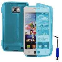 Samsung Galaxy S2 i9100/ i9105G/ Plus: Accessoire Etui Housse Pochette Coque silicone gel Portefeuille Livre rabat + mini Stylet - BLEU