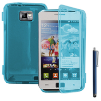 Samsung Galaxy S2 i9100/ i9105G/ Plus: Accessoire Etui Housse Pochette Coque silicone gel Portefeuille Livre rabat + Stylet - BLEU