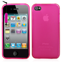 Apple iPhone 4/ 4S/ 4G: Accessoire Housse Etui Pochette Coque silicone gel + mini Stylet - ROSE