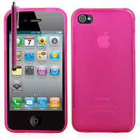 Apple iPhone 4/ 4S/ 4G: Accessoire Housse Etui Pochette Coque silicone gel + Stylet - ROSE