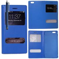 Apple iPhone 6/ 6s: Accessoire Coque Etui Housse Pochette Plastique View Case + Stylet - BLEU