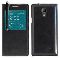 Samsung SM-G3518 Galaxy Core TD-LTE (non compatible SM-386F): Accessoire Coque Etui Housse Pochette Plastique View Case + Stylet - NOIR