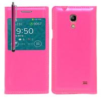 Samsung SM-G3518 Galaxy Core TD-LTE (non compatible SM-386F): Accessoire Coque Etui Housse Pochette Plastique View Case + Stylet - ROSE