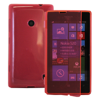 Nokia Lumia 520/ 525/ 521 RM-917: Accessoire Etui Housse Pochette Coque silicone gel Portefeuille Livre rabat - ROUGE