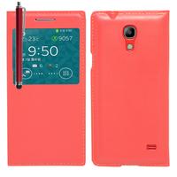 Samsung SM-G3518 Galaxy Core TD-LTE (non compatible SM-386F): Accessoire Coque Etui Housse Pochette Plastique View Case + Stylet - ROUGE