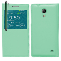 Samsung SM-G3518 Galaxy Core TD-LTE (non compatible SM-386F): Accessoire Coque Etui Housse Pochette Plastique View Case + Stylet - VERT