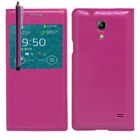 Samsung SM-G3518 Galaxy Core TD-LTE (non compatible SM-386F): Accessoire Coque Etui Housse Pochette Plastique View Case + Stylet - VIOLET