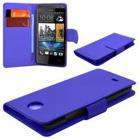HTC Desire 500/ Dual Sim: Accessoire Etui portefeuille Livre Housse Coque Pochette cuir PU - BLEU FONCE