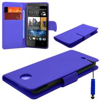 HTC Desire 500/ Dual Sim: Accessoire Etui portefeuille Livre Housse Coque Pochette cuir PU + mini Stylet - BLEU FONCE