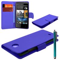 HTC Desire 500/ Dual Sim: Accessoire Etui portefeuille Livre Housse Coque Pochette cuir PU + Stylet - BLEU FONCE