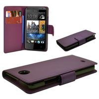 HTC Desire 601 Zara/ Dual Sim: Accessoire Etui portefeuille Livre Housse Coque Pochette cuir PU - VIOLET