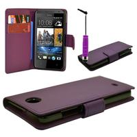 HTC Desire 601 Zara/ Dual Sim: Accessoire Etui portefeuille Livre Housse Coque Pochette cuir PU + mini Stylet - VIOLET