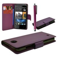 HTC Desire 601 Zara/ Dual Sim: Accessoire Etui portefeuille Livre Housse Coque Pochette cuir PU + Stylet - VIOLET