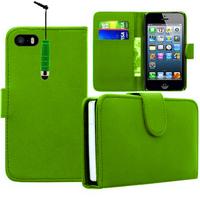 Apple iPhone 5/ 5S/ SE: Accessoire Etui portefeuille Livre Housse Coque Pochette cuir PU + mini Stylet - VERT