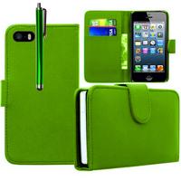 Apple iPhone 5/ 5S/ SE: Accessoire Etui portefeuille Livre Housse Coque Pochette cuir PU + Stylet - VERT
