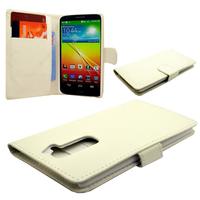LG G2 D802/ D803/ VS980/ D800/ D801/ D802TA/ LS980: Accessoire Etui portefeuille Livre Housse Coque Pochette cuir PU - BLANC