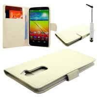 LG G2 D802/ D803/ VS980/ D800/ D801/ D802TA/ LS980: Accessoire Etui portefeuille Livre Housse Coque Pochette cuir PU + mini Stylet - BLANC