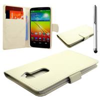 LG G2 D802/ D803/ VS980/ D800/ D801/ D802TA/ LS980: Accessoire Etui portefeuille Livre Housse Coque Pochette cuir PU + Stylet - BLANC