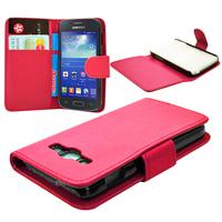 Samsung Galaxy Ace 3 S7270 S7272 S7275 LTE: Accessoire Etui portefeuille Livre Housse Coque Pochette cuir PU - ROSE