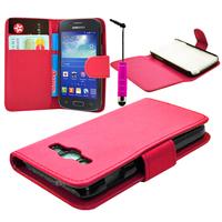 Samsung Galaxy Ace 3 S7270 S7272 S7275 LTE: Accessoire Etui portefeuille Livre Housse Coque Pochette cuir PU + mini Stylet - ROSE