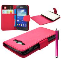 Samsung Galaxy Ace 3 S7270 S7272 S7275 LTE: Accessoire Etui portefeuille Livre Housse Coque Pochette cuir PU + Stylet - ROSE