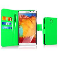 Samsung Galaxy Note 3 N9000/ N9002/ N9005/ N9006: Accessoire Etui portefeuille Livre Housse Coque Pochette cuir PU - VERT