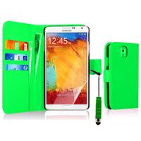 Samsung Galaxy Note 3 N9000/ N9002/ N9005/ N9006: Accessoire Etui portefeuille Livre Housse Coque Pochette cuir PU + mini Stylet - VERT