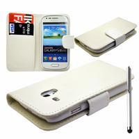 Samsung Galaxy S3 mini i8190/ i8200 VE: Accessoire Etui portefeuille Livre Housse Coque Pochette cuir PU + Stylet - BLANC