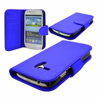 Samsung Galaxy S3 mini i8190/ i8200 VE: Accessoire Etui portefeuille Livre Housse Coque Pochette cuir PU - BLEU FONCE