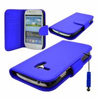 Samsung Galaxy S3 mini i8190/ i8200 VE: Accessoire Etui portefeuille Livre Housse Coque Pochette cuir PU + mini Stylet - BLEU FONCE