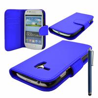 Samsung Galaxy S3 mini i8190/ i8200 VE: Accessoire Etui portefeuille Livre Housse Coque Pochette cuir PU + Stylet - BLEU FONCE