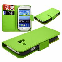 Samsung Galaxy S3 mini i8190/ i8200 VE: Accessoire Etui portefeuille Livre Housse Coque Pochette cuir PU - VERT