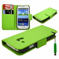 Samsung Galaxy S3 mini i8190/ i8200 VE: Accessoire Etui portefeuille Livre Housse Coque Pochette cuir PU + mini Stylet - VERT